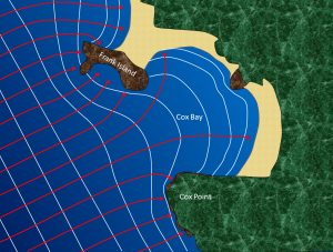 Figure 17.11 The approach of waves (white lines) in the Cox Bay area of Long Beach, Vancouver Island. The red arrows represent wave energy; most of that energy is focused on the headlands of Frank Island and Cox Point. [SE]
