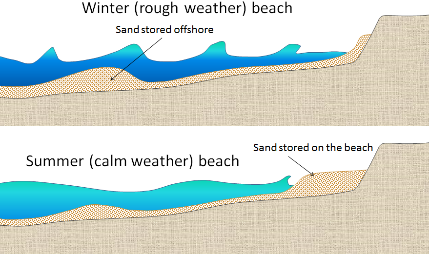 Figure 17.17 The differences between summer and winter on beaches in areas where the winter conditions are rougher and waves have a shorter wavelength but higher energy. In winter, sand from the beach is stored offshore. [SE]