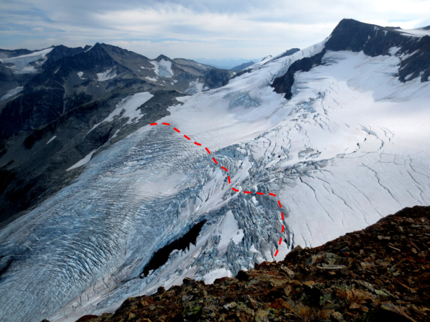 Figure 16.12 The approximate location of the equilibrium line (red) in September 2013 on the Overlord Glacier, near Whistler, B.C. [SE, after Isaac Earle, used with permission]