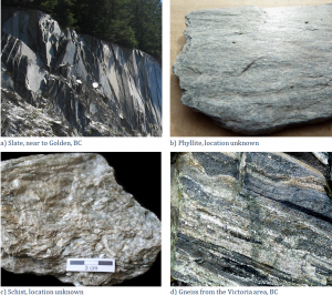 Figure 7.8 Examples of foliated metamorphic rocks [a, b, and d: SE, c: Michael C. Rygel, http://en.wikipedia.org/wiki/Schist#mediaviewer/File:Schist_detail.jpg]