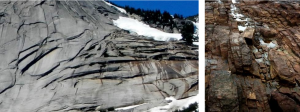 Figure 12.9 Granite in the Coquihalla Creek area, B.C. (left) and sandstone at Nanoose, B.C. (right), both showing fracturing that has resulted from expansion due to removal of overlying rock. [SE]