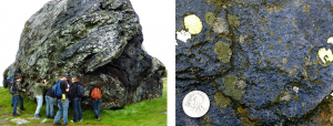 Figure 7.18 Franciscan Complex blueschist rock exposed north of San Francisco. The blue colour of rock is due to the presence of the amphibole mineral glaucophane. [SE]