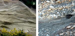 Figure 16.32 Examples of glaciofluvial sediments: a: glaciofluvial sand of the Quadra Sand Formation at Comox, B.C.; b: glaciofluvial gravel and sand, Nanaimo, B.C.