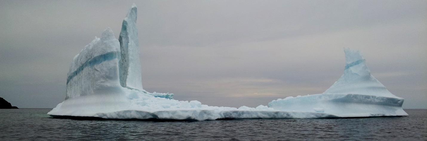 Figure 18.16 An iceberg floating past Exploits Island, on the Newfoundland Current [https://commons.wikimedia.org/wiki/File:Newfoundland_Iceberg_just_off_Exploits_Island.jpg]