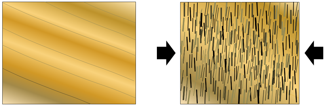 Figure 7.6 The textural effects of squeezing and aligned mineral growth during metamorphism. The left-hand diagram represents shale with bedding in the direction shown. The right-hand diagram represents schist (derived from that shale), with the mica crystals orientated perpendicular to the main stress direction and the original bedding no longer easily visible. [SE]