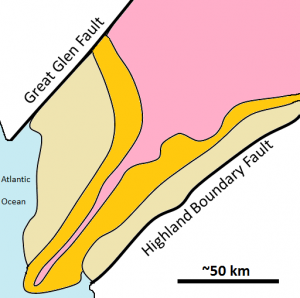 The map shown here represents the part of western Scotland between the Great Glen Fault and the Highland Boundary Fault. The shaded areas are metamorphic rock, and the three metamorphic zones represented are garnet, chlorite, and biotite.