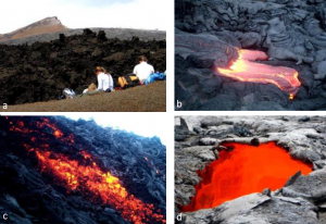 Figura 4.19 Imágenes de volcán Kilauea tomada en 2002 (B y C) y 2007 (A & D) [SE fotos] (a) cono de ceniza Pu'u'O'o en el fondo con tephra en el primer plano y aa lava en el medio, (b) Formación de pahoehoe en el extremo sur de Kilauea, (c) Formación de aa en una pendiente pronunciada en Kilauea, (d) Tragaluz en un tubo de lava activo, Kilauea.