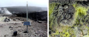 Figure 4.17 A gas-composition monitoring station (left) within the Kilauea caldera and at the edge of Halema'uma'u crater. The rising clouds are mostly composed of water vapour, but also include carbon dioxide and sulphur dioxide. Sulphur crystals (right) have formed around a gas vent in the caldera. [SE photos]