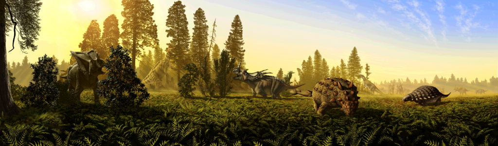 Figure 21.25 Depiction of some of the large herbivorous dinosaurs from the upper part of the Dinosaur Park Formation. Left to right: the ceratopsian Pentaceratops , the hadrosaur Lambeosaurus eating from a tall tree, the ceratopsian Styracosaurus, the ankylosuar Scolosaurus, the hadrosaur Prosaurolophus (in the distance), the ankylosaur Panoplosaurus, and a herd of Styracosaurs in the background. [by J.T. Csotonyi at https://upload.wikimedia.org/wikipedia/commons/e/e9/Dinosaur_park_formation_fauna.png]