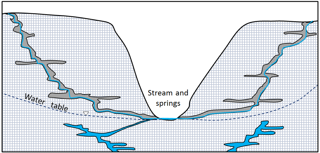 Figure 14.9 Groundwater in a limestone karst region. The water in the caves above the water table does not behave like true groundwater because its flow is not controlled by water pressure, only by gravity. The water below the water table does behave like true groundwater. [SE]
