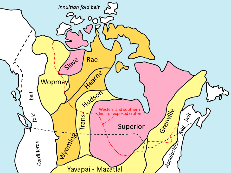 Figure 21.3 The main provinces of Laurentia. The pink areas are the oldest; light yellow are the youngest. All of the areas south and west of the dotted red line are now covered with younger rocks. The white areas represent rocks that were added to North America since 700 Ma. [SE]