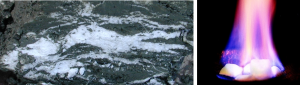 Figure 18.11 Left: Methane hydrate within muddy sea-floor sediment from an area offshore from Oregon. [https://upload.wikimedia.org/wikipedia/commons/4/49/Gashydrat_im_Sediment.JPG] Right: Methane hydrate on fire [http://www.usgs.gov/blogs/features/files/2012/01/New-Image.jpg]