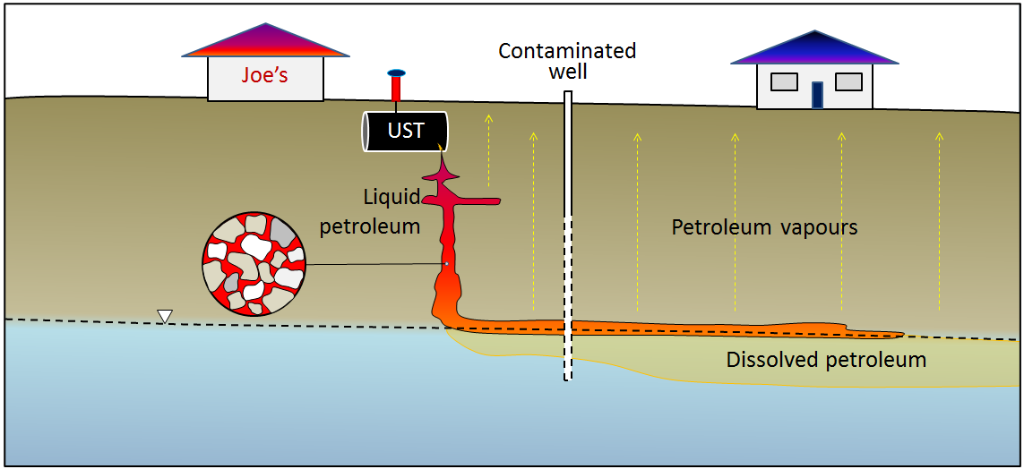 Figure 14.24 A depiction of the fate of different components of a petroleum spill from an underground storage tank. [SE]