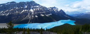 Figure 16.27 Peyto Lake in the Alberta Rockies, is both a finger lake and a moraine lake as it is dammed by an end moraine, on the right. [http://commons.wikimedia.org/wiki/File:1_Peyto_lake_panorama_2006.jpg]