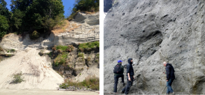 Figure 15.4 Left: Glacial outwash deposits at Point Grey, in Vancouver. The dark lower layer is made up of sand, silt, and clay. The light upper layer is well-sorted sand. Right: Glacial till on Quadra Island, B.C. The till is strong enough to have formed a near-vertical slope. [SE]