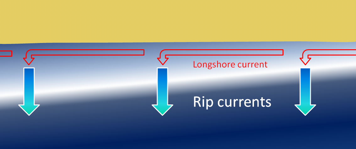 Figure 17.9 The formation of rip currents on a beach with strong surf [SE]