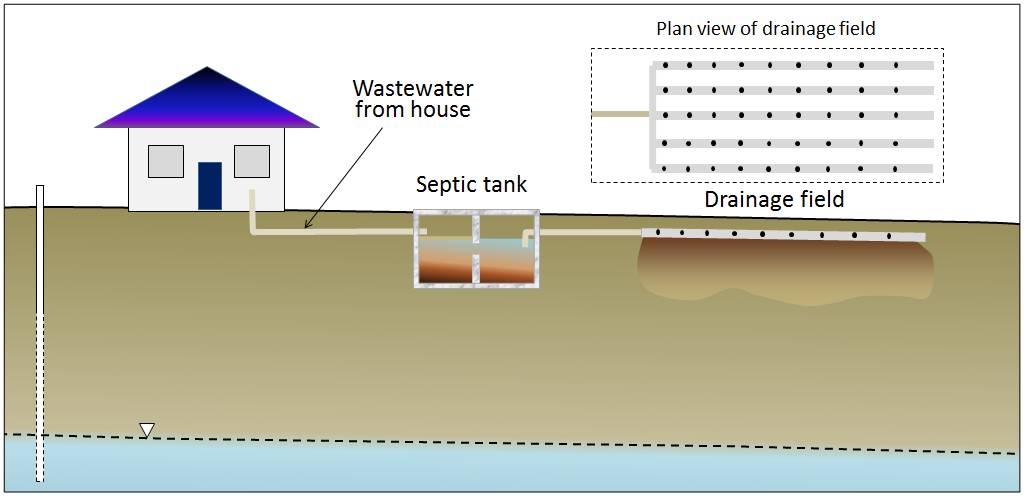 Figure 14.25 A typical septic system. [SE]