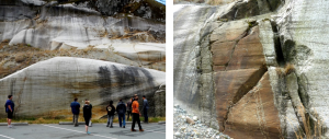 Figure 16.25 Left: Roches moutonées with glacial striae near Squamish, B.C. Right: Glacial striae at the same location near Squamish. Ice flow was from right to left in both cases. [SE]