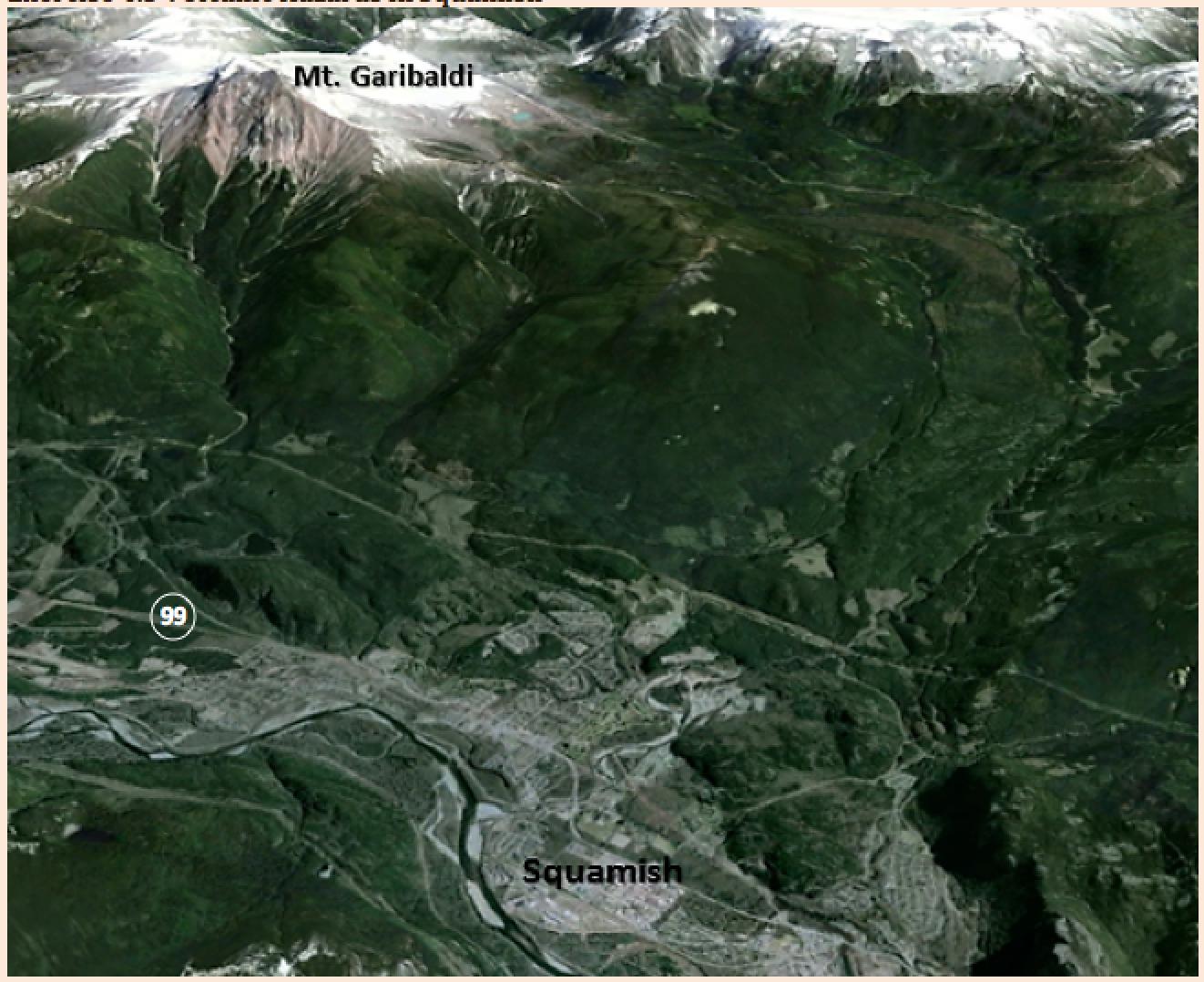 Mapa que muestra la ubicación de la ciudad de Squamish.