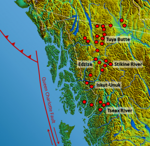 Figure 4.5 Volcanoes and volcanic fields in the Northern Cordillera Volcanic Province, B.C. (base map from Wikipedia (http://commons.wikimedia.org/wiki/File:South-West_Canada.jpg). Volcanic locations from Edwards, B. & Russell, J. (2000). Distribution, nature, and origin of Neogene-Quaternary magmatism in the northern Cordilleran volcanic province, Canada. Geological Society of America Bulletin. pp. 1280-1293[SE]Cordillera Volcanic Province, B.C.