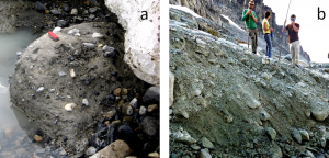 Figure 16.31 Examples of glacial till: a: lodgement till from the front of the Athabasca Glacier, Alberta; b: ablation till at the Horstman Glacier, Blackcomb Mountain, B.C. [SE]