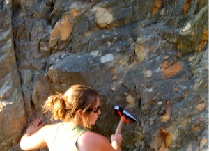 Figure 21.8 Late Proterozoic Toby Formation mudstone with glacial dropstones south of Cranbrook, B.C. [SE]