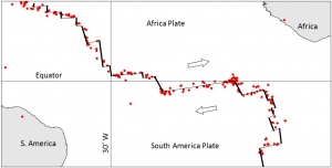 Figure 11.8 Distribution of earthquakes of M4 and greater in the area of the mid-Atlantic ridge near the equator from 1990 to 1996. All are at a depth of 0 to 33 km [SE after Dale Sawyer, Rice University, http://plateboundary.rice.edu]