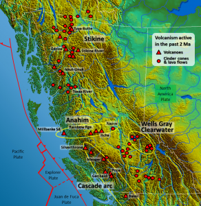 Figure 4.28 Major volcanic centres in British Columbia (base map from Wikipedia (http://commons.wikimedia.org/wiki/File:South-West_Canada.jpg). Volcanic locations from Wood, D., 1993, Waiting for another big blast - probing B.C.'s volcanoes, Canadian Geographic, based on the work of Cathie Hickson)
