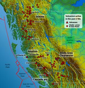 Figura 4.28 Los principales centros volcánicos en la Columbia Británica (mapa base de Wikipedia (http://commons.wikimedia.org/wiki/File:South-West_Canada.jpg). Parajes volcánicos de madera, D., 1993, en espera de otro gran explosión - sondear volcanes de la Columbia Británica, Canadá geográfica, basado en la obra de Cathie Hickson)
