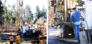 Figure 14.10 A water-well drilling rig in operation in the Cassidy area, near Nanaimo, B.C. In the photo on the right the well is being test-pumped with air pressure. The casing (yellow arrow) is about 40 cm in diameter. [SE]