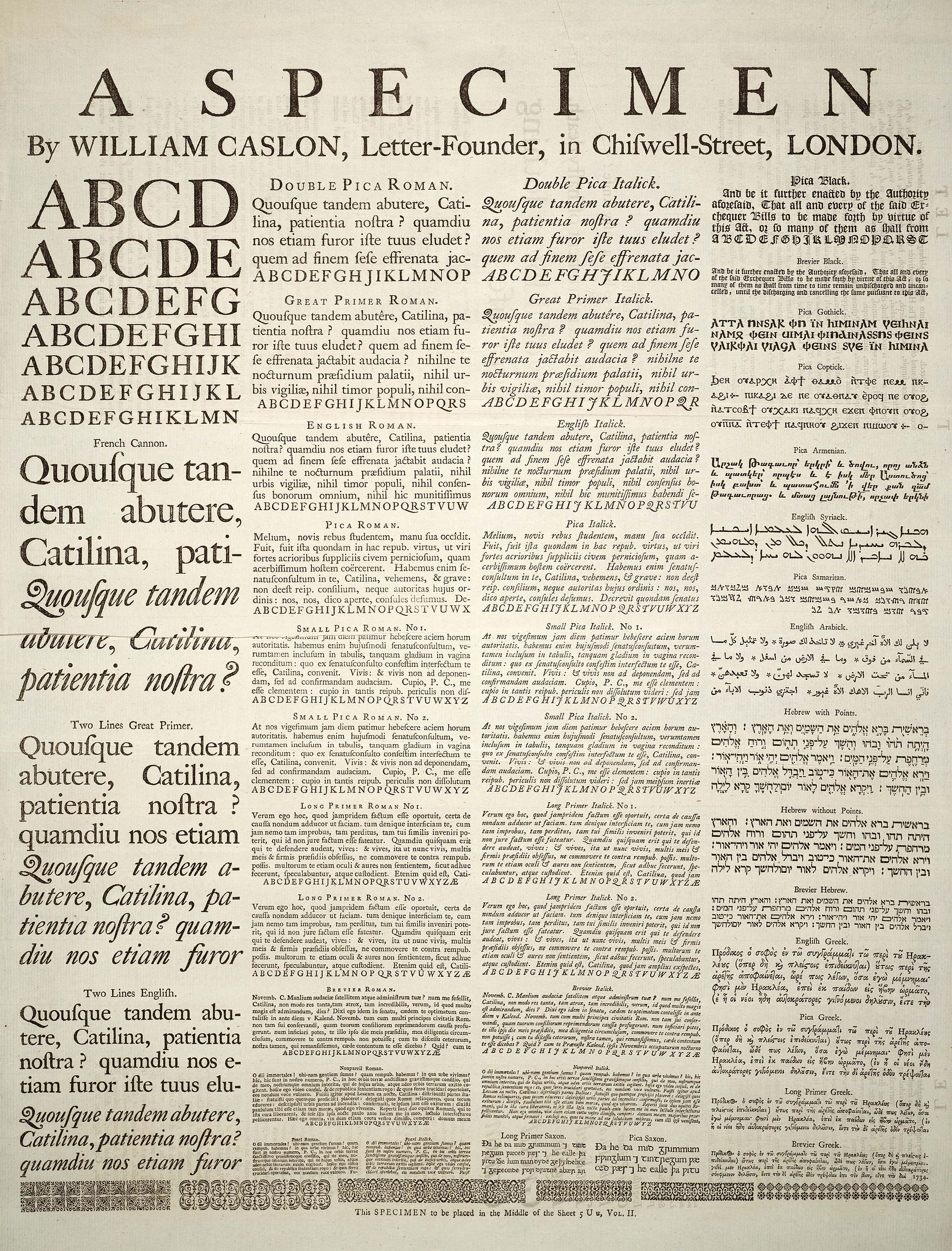 A specimen sheet of typefaces and languages