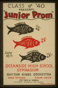 a junior prom poster with 3 fish and 2 music notes lining up vertically