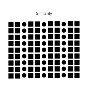 A series of rectangles and circles to indicate the similarity principle.
