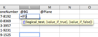 logical test in a spread sheet application