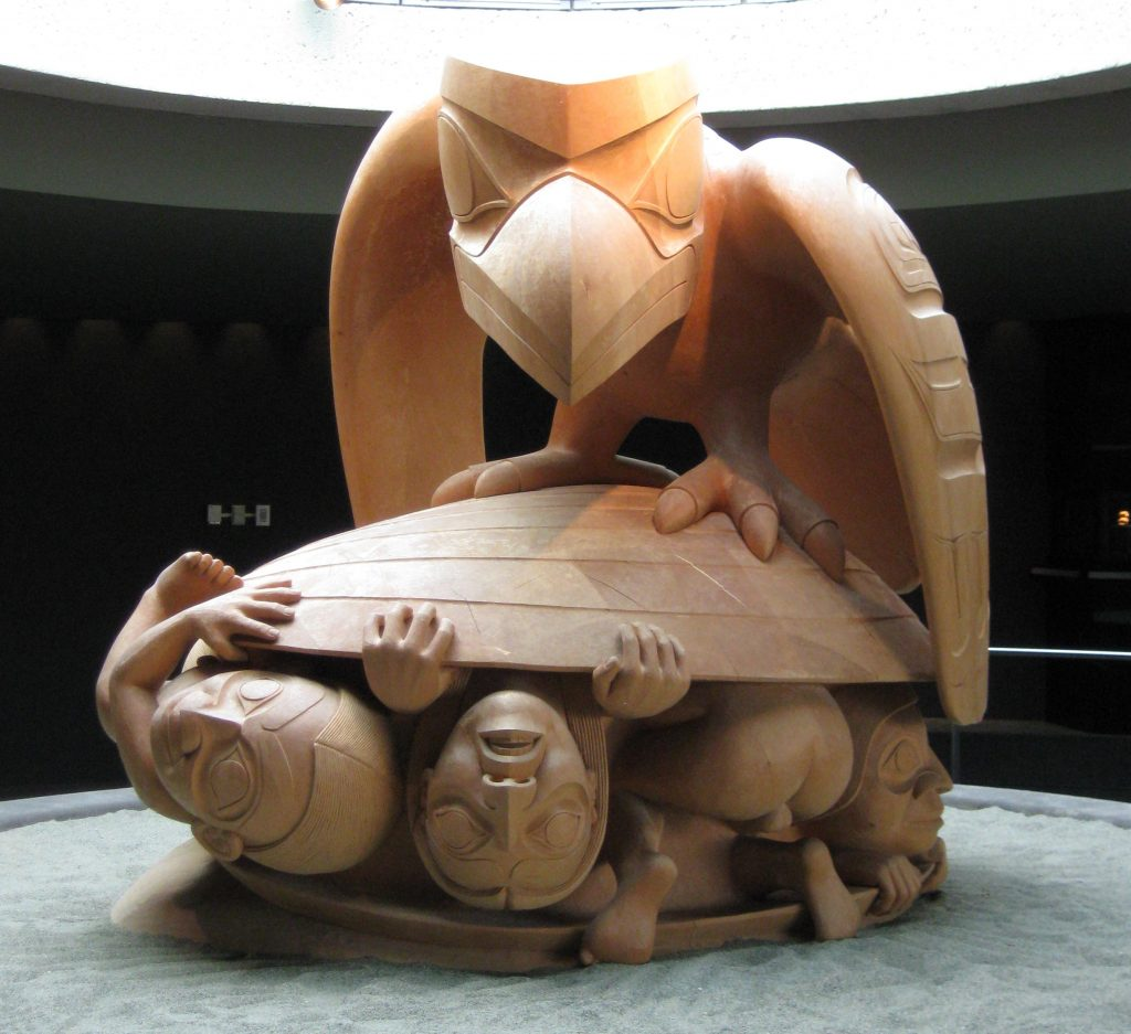 Raven and the First Men Sculpture by Bill Reid