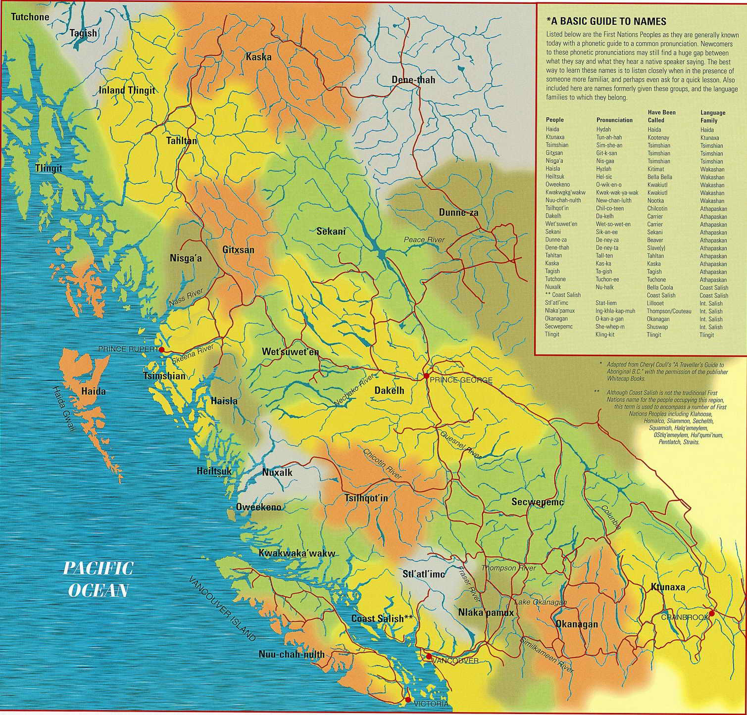 Map showing First Nations Territories in B.C.