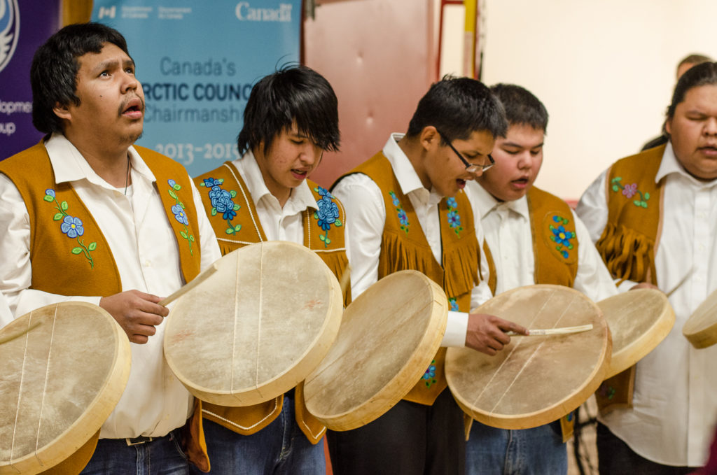 A group of drummers performing during the Traditional Knowledge outreach event