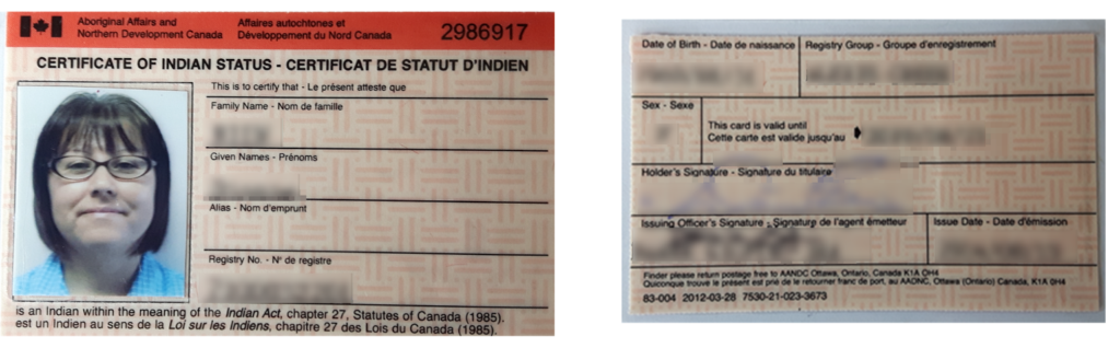 A sample Status Identity Card