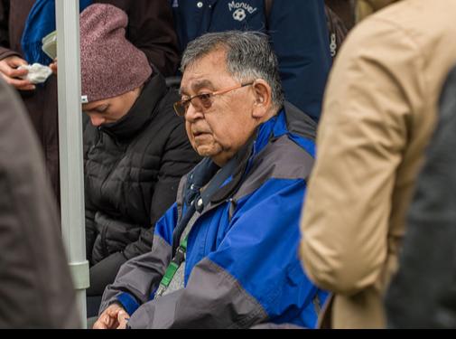 A man in a rain jacket