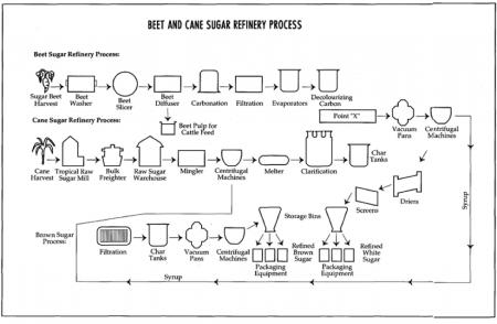 A process of sugar refining.