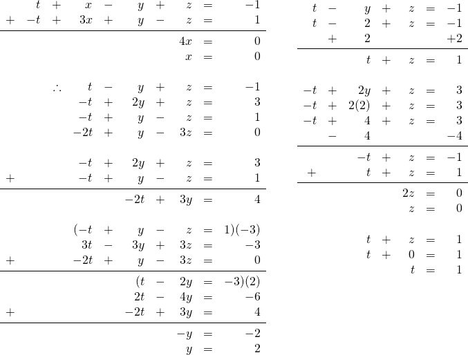 \begin{array}{rr} \\ \\ \\ \\ \\ \\ \\ \\ \\ \\ \begin{array}{rrrrrrrrrr} \\ \\ \\ \\ \\ \\ &t&+&x&-&y&+&z&=&-1 \\ +&-t&+&3x&+&y&-&z&=&1 \\ \midrule &&&&&&&4x&=&0 \\ &&&&&&&x&=&0 \\ \\ &&\therefore &t&-&y&+&z&=&-1 \\ &&&-t&+&2y&+&z&=&3 \\ &&&-t&+&y&-&z&=&1 \\ &&&-2t&+&y&-&3z&=&0 \\ \\ &&&-t&+&2y&+&z&=&3 \\ +&&&-t&+&y&-&z&=&1 \\ \midrule &&&&&-2t&+&3y&=&4 \\ \\ &&&(-t&+&y&-&z&=&1)(-3) \\ &&&3t&-&3y&+&3z&=&-3 \\ +&&&-2t&+&y&-&3z&=&0 \\ \midrule &&&&&(t&-&2y&=&-3)(2) \\ &&&&&2t&-&4y&=&-6 \\ +&&&&&-2t&+&3y&=&4 \\ \midrule &&&&&&&-y&=&-2 \\ &&&&&&&y&=&2 \\ \end{array} & \hspace{0.25in} \begin{array}{rrrrrrr} \\ t&-&y&+&z&=&-1 \\ t&-&2&+&z&=&-1 \\ &+&2&&&&+2 \\ \midrule &&t&+&z&=&1 \\ \\ -t&+&2y&+&z&=&3 \\ -t&+&2(2)&+&z&=&3 \\ -t&+&4&+&z&=&3 \\ &-&4&&&&-4 \\ \midrule &&-t&+&z&=&-1 \\ +&&t&+&z&=&1 \\ \midrule &&&&2z&=&0 \\ &&&&z&=&0 \\ \\ &&t&+&z&=&1 \\ &&t&+&0&=&1 \\ &&&&t&=&1 \\ \end{array} \end{array}