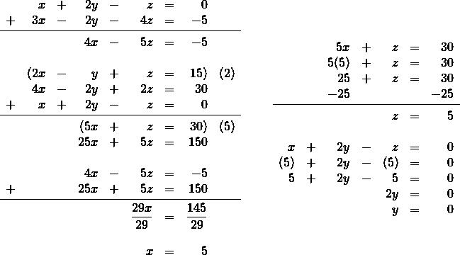 \begin{array}{rr} \\ \\ \\ \\ \\ \\ \\ \\ \\ \\ \\ \\ \\ \\ \\ \begin{array}{rrrrrrrrl} &x&+&2y&-&z&=&0& \\ +&3x&-&2y&-&4z&=&-5& \\ \midrule &&&4x&-&5z&=&-5& \\ \\ &(2x&-&y&+&z&=&15)&(2) \\ &4x&-&2y&+&2z&=&30& \\ +&x&+&2y&-&z&=&0& \\ \midrule &&&(5x&+&z&=&30)&(5) \\ &&&25x&+&5z&=&150& \\ \\ &&&4x&-&5z&=&-5& \\ +&&&25x&+&5z&=&150& \\ \midrule &&&&&\dfrac{29x}{29}&=&\dfrac{145}{29}& \\ \\ &&&&&x&=&5& \\ \end{array} & \hspace{0.25in} \begin{array}{rrrrrrr} &&5x&+&z&=&30 \\ &&5(5)&+&z&=&30 \\ &&25&+&z&=&30 \\ &&-25&&&&-25 \\ \midrule &&&&z&=&5 \\ \\ x&+&2y&-&z&=&0 \\ (5)&+&2y&-&(5)&=&0 \\ 5&+&2y&-&5&=&0 \\ &&&&2y&=&0 \\ &&&&y&=&0 \\ \end{array} \end{array}