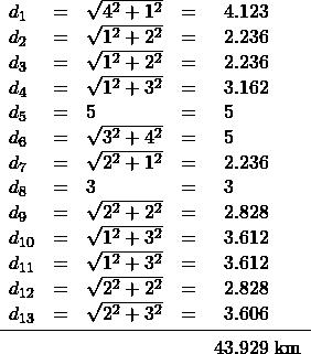 \begin{array}{lrlrl} d_1&=&\sqrt{4^2+1^2}&=&\phantom{0}4.123 \\ d_2&=&\sqrt{1^2+2^2}&=&\phantom{0}2.236 \\ d_3&=&\sqrt{1^2+2^2}&=&\phantom{0}2.236 \\ d_4&=&\sqrt{1^2+3^2}&=&\phantom{0}3.162 \\ d_5&=&5&=&\phantom{0}5 \\ d_6&=&\sqrt{3^2+4^2}&=&\phantom{0}5 \\ d_7&=&\sqrt{2^2+1^2}&=&\phantom{0}2.236 \\ d_8&=&3&=&\phantom{0}3 \\ d_9&=&\sqrt{2^2+2^2}&=&\phantom{0}2.828 \\ d_{10}&=&\sqrt{1^2+3^2}&=&\phantom{0}3.612 \\ d_{11}&=&\sqrt{1^2+3^2}&=&\phantom{0}3.612 \\ d_{12}&=&\sqrt{2^2+2^2}&=&\phantom{0}2.828 \\ d_{13}&=&\sqrt{2^2+3^2}&=&\phantom{0}3.606 \\ \midrule &&&&43.929 \text{ km} \end{array}