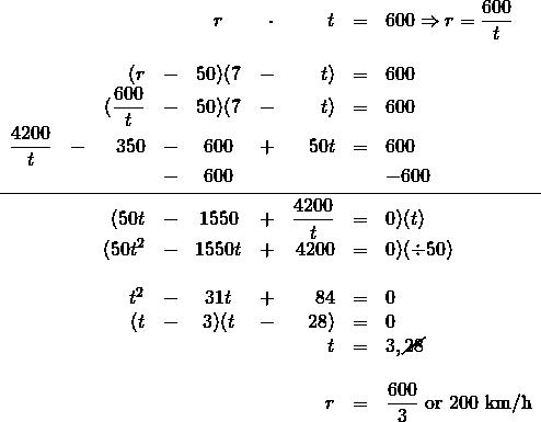 \begin{array}{rrrrcrrrl} \\ \\ \\ \\ \\ \\ \\ \\ \\ \\ \\ \\ \\ \\ \\ \\ &&&&r&\cdot &t&=&600\Rightarrow r=\dfrac{600}{t} \\ \\ &&(r&-&50)(7&-&t)&=&600 \\ &&(\dfrac{600}{t}&-&50)(7&-&t)&=&600 \\ \dfrac{4200}{t}&-&350&-&600&+&50t&=&600 \\ &&&-&600&&&&-600 \\ \midrule &&(50t&-&1550&+&\dfrac{4200}{t}&=&0)(t) \\ &&(50t^2&-&1550t&+&4200&=&0)(\div 50) \\ \\ &&t^2&-&31t&+&84&=&0 \\ &&(t&-&3)(t&-&28)&=&0 \\ &&&&&&t&=&3, \cancel{28} \\ \\ &&&&&&r&=&\dfrac{600}{3}\text{ or }200\text{ km/h} \end{array}