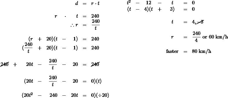 \begin{array}{ll} \\ \\ \\ \begin{array}{rrrrrrrrl} \\ \\ \\ \\ \\ \\ \\ &&&&&&d&=&r\cdot t \\ \\ &&&&r&\cdot &t&=&240\ \\ &&&&&&\therefore r&=&\dfrac{240}{t} \\ \\ &&(r&+&20)(t&-&1)&=&240 \\ &&(\dfrac{240}{t}&+&20)(t&-&1)&=&240 \\ \\ \cancel{240}&+&20t&-&\dfrac{240}{t}&-&20&=&\cancel{240} \\ \\ &&(20t&-&\dfrac{240}{t}&-&20&=&0)(t) \\ \\ &&(20t^2&-&240&-&20t&=&0)(\div 20) \end{array} &\hspace{0.25in} \begin{array}{rrcrcrl} t^2&-&12&-&t&=&0 \\ (t&-&4)(t&+&3)&=&0 \\ \\ &&&&t&=&4, \cancel{-3} \\ \\ &&&&r&=&\dfrac{240}{4}\text{ or }60\text{ km/h} \\ \\ &&&&\text{faster}&=&80\text{ km/h} \end{array} \end{array}