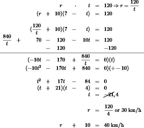 \begin{array}{rrrrcrrrl} \\ \\ \\ \\ \\ \\ \\ \\ \\ \\ \\ \\ \\ \\ \\ \\ \\ &&&&r&\cdot &t&=&120\Rightarrow r=\dfrac{120}{t} \\ &&(r&+&10)(7&-&t)&=&120 \\ \\ &&(\dfrac{120}{t}&+&10)(7&-&t)&=&120 \\ \dfrac{840}{t}&+&70&-&120&-&10t&=&120 \\ &&&-&120&&&&-120 \\ \midrule &&(-10t&-&170&+&\dfrac{840}{t}&=&0)(t) \\ &&(-10t^2&-&170t&+&840&=&0)(\div -10) \\ \\ &&t^2&+&17t&-&84&=&0 \\ &&(t&+&21)(t&-&4)&=&0 \\ &&&&&&t&=&\cancel{-21}, 4 \\ \\ &&&&&&r&=&\dfrac{120}{4}\text{ or }30\text{ km/h} \\ \\ &&&&r&+&10&=&40\text{ km/h} \\ \end{array}