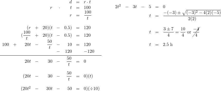 \begin{array}{ll} \begin{array}{rrrrrrrrl} \\ \\ \\ \\ \\ \\ \\ &&&&&&d&=&r\cdot t \\ &&&&r&\cdot &t&=&100 \\ &&&&&&r&=&\dfrac{100}{t} \\ \\ &&(r&+&20)(t&-&0.5)&=&120 \\ &&(\dfrac{100}{t}&+&20)(t&-&0.5)&=&120 \\ 100&+&20t&-&\dfrac{50}{t}&-&10&=&120 \\ &&&&&-&120&&-120 \\ \midrule &&20t&-&30&-&\dfrac{50}{t}&=&0 \\ \\ &&(20t&-&30&-&\dfrac{50}{t}&=&0)(t) \\ \\ &&(20t^2&-&30t&-&50&=&0)(\div 10) \end{array} &\hspace{0.25in} \begin{array}{rrrrrrl} 2t^2&-&3t&-&5&=&0 \\ &&&&t&=&\dfrac{-(-3)\pm \sqrt{(-3)^2-4(2)(-5)}}{2(2)} \\ \\ &&&&t&=&\dfrac{3\pm 7}{4}=\dfrac{10}{4}\text{ or }\cancel{\dfrac{-4}{4}} \\ \\ &&&&t&=&2.5\text{ h} \end{array} \end{array}