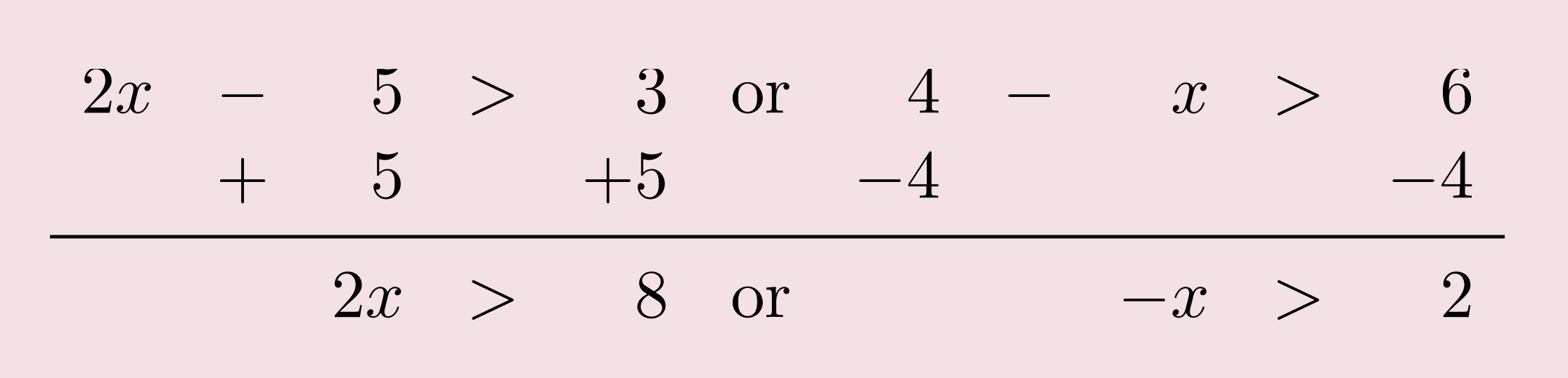Add 5 to both sides or subtract 4 from both sides. Result is 2 X is greater than 8 or negative X is greater than 2.