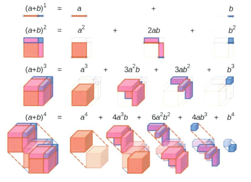 (a+b)1=a+b. (a+b)2 = a2 + 2ab+ b2 (a+b)2=a2+3a+2b+dab2+b2, (a+b)4=a4+4a2b+6a2b2+4ab2+b2