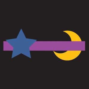 A yellow moon shape is behind a purple bar and a blue star shape is in front of the purple bar.